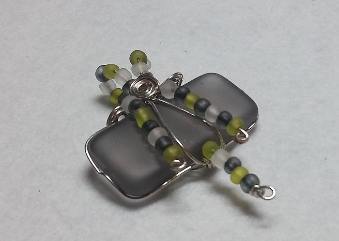 Sea Glass   Wire Wrapped Pendant   Jewelry   Grey Sea-Glass