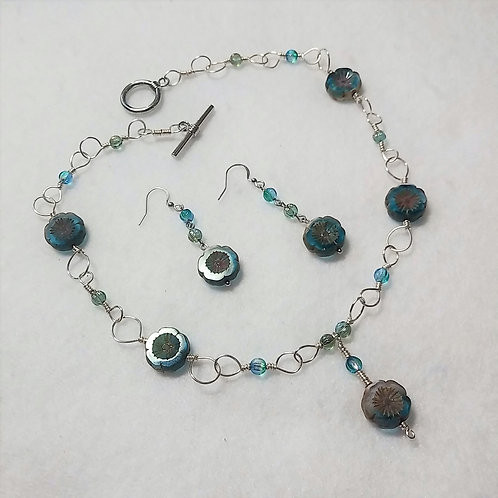 Czech Glass | Light Blue | Wire Wrapped Jewelry | Necklace | Earring