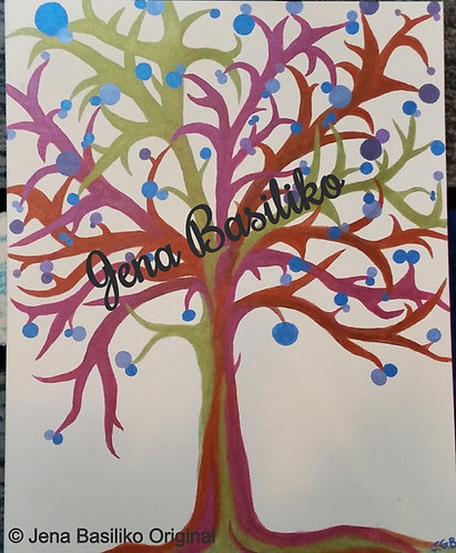 Blueberry Tree | Painting | Artist Jena B | 22 x 28 inch Signed Original