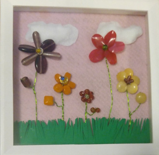9 x 9 framed flower fun! 5 wrapped flowers-Brighten your child's room with one today! (1)