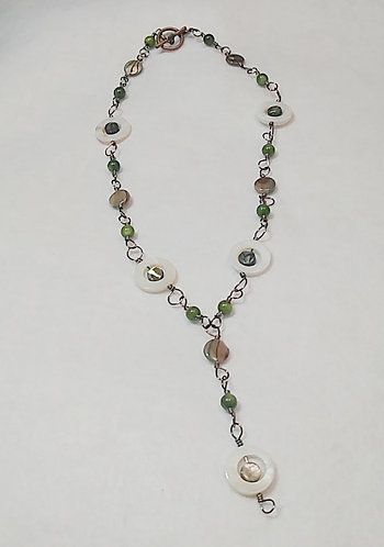 Green Wire Wrapped Abalone Shell / Stone Necklace