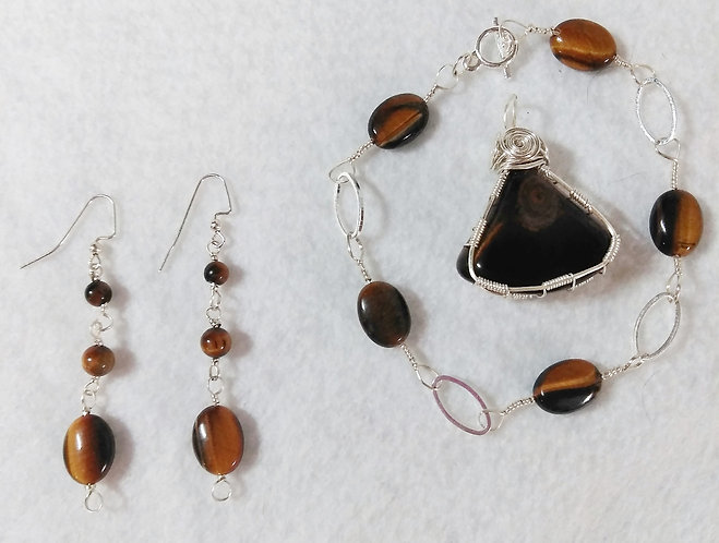 Tiger Eye | Bracelet and Earring Set | Wire Wrapped Jewelry
