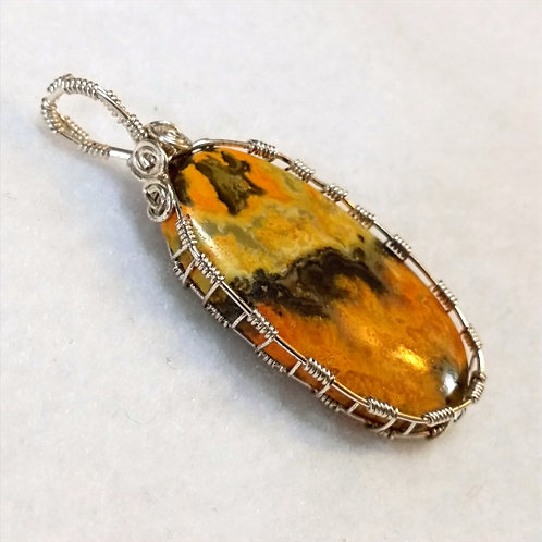 Bumblebee Jasper Wire Wrapped Pendant | Clear Focus