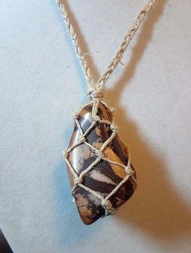 JASPER | Zebra Jasper | Adjustable Hemp Necklace (1)