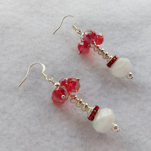 Red Crystal Earrings, right side view