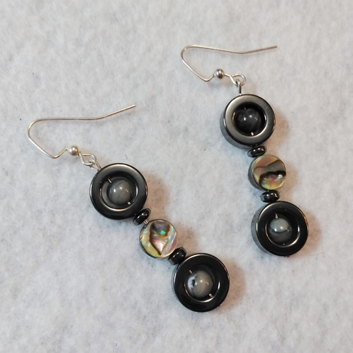 earrings hoop hematite drop tear sterling genuine silvertribe silver