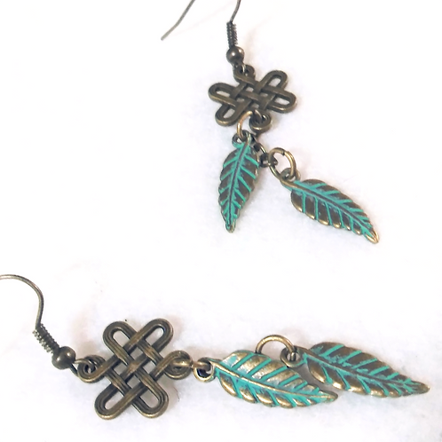 Green Tribal Feather Earrings