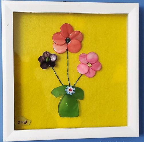 Bead Flowers | 9 x 9 | Yellow Bead Art