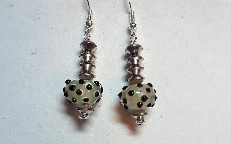 Green bumpy lampwork earrings | Silver | Jewelry