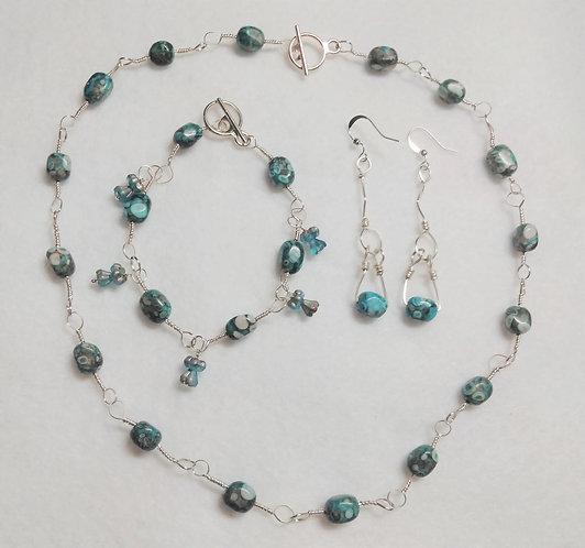 Blue Stone Necklace, Earrings, Bracelet set | Jewelry