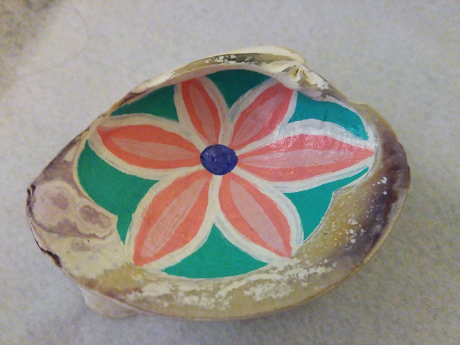 hand painted flower shell tray, top view