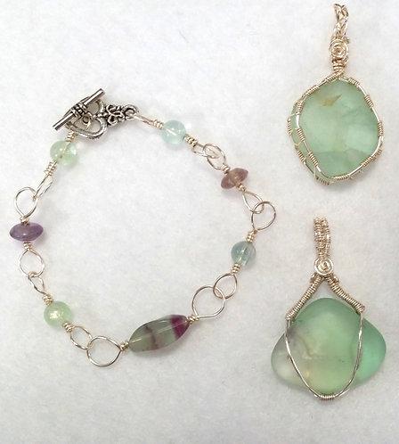 Fluorite Calming Gemstone Wire Wrapped Pendants | Jewelry