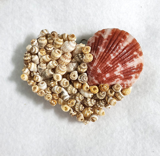 Heart Seashell Ornament / Wall Hanger Covered in Shells