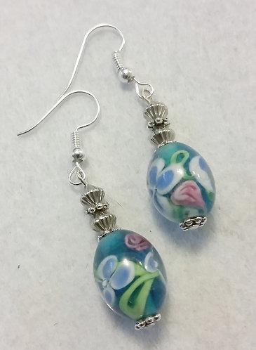 Blue Flower Lampwork Earrings | Jewelry