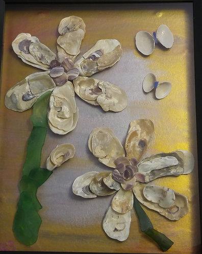 Shell Art | Metallic background | seashell flower | butterflies| black 11 x 14