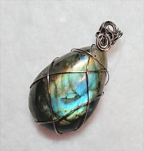Labradorite Teardrop Wire Wrapped Pendant
