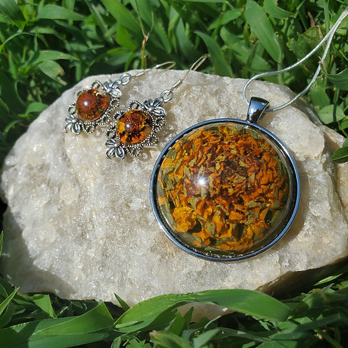 Orange Zinnia Necklace and Earring Set | Made with REAL flowers | Orange