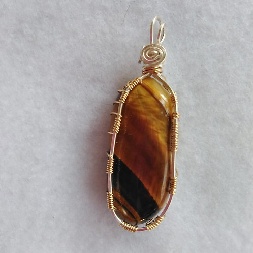 Tiger Eye | Wire Wrapped Pendant | Jewelry