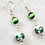 Green Ceramic Cats Eye Earrings