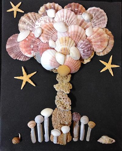 Shell Tree | Shell Art | Shell flower |8 x 10 Black Shadow Box