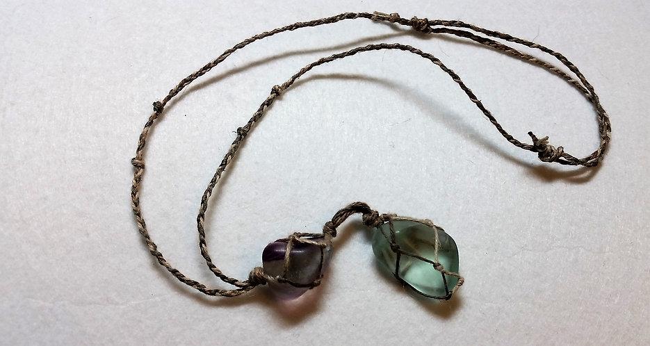 Fluorite | Adjustable | Hemp Necklace | Fluorite Crystal Stones