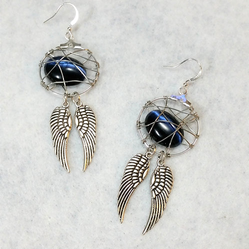 Blue Winged Cats-eye Wire Wrapped Earring   Made to Order