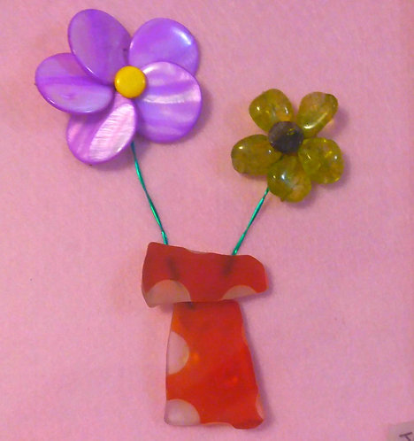 Wire wrapped flowers | Orange sea glass | Wire wrapping | Purple flower