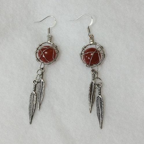 Carnelian Wire Wrapped Earring