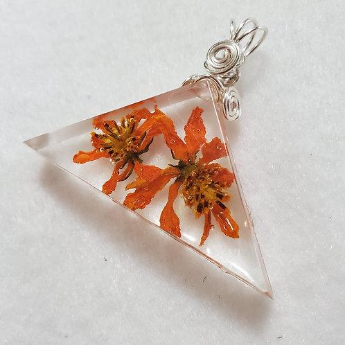 REAL Flower Triangle Pendant   Orange