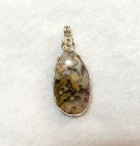 Ocean Jasper Wire Wrapped Pendant | Maryland