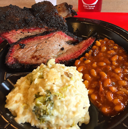 Beef Brisket, Broccoli CheddarRice, baked beans