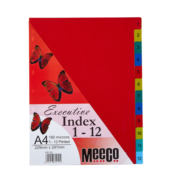 Executive Plastic Index 1-12 Tab