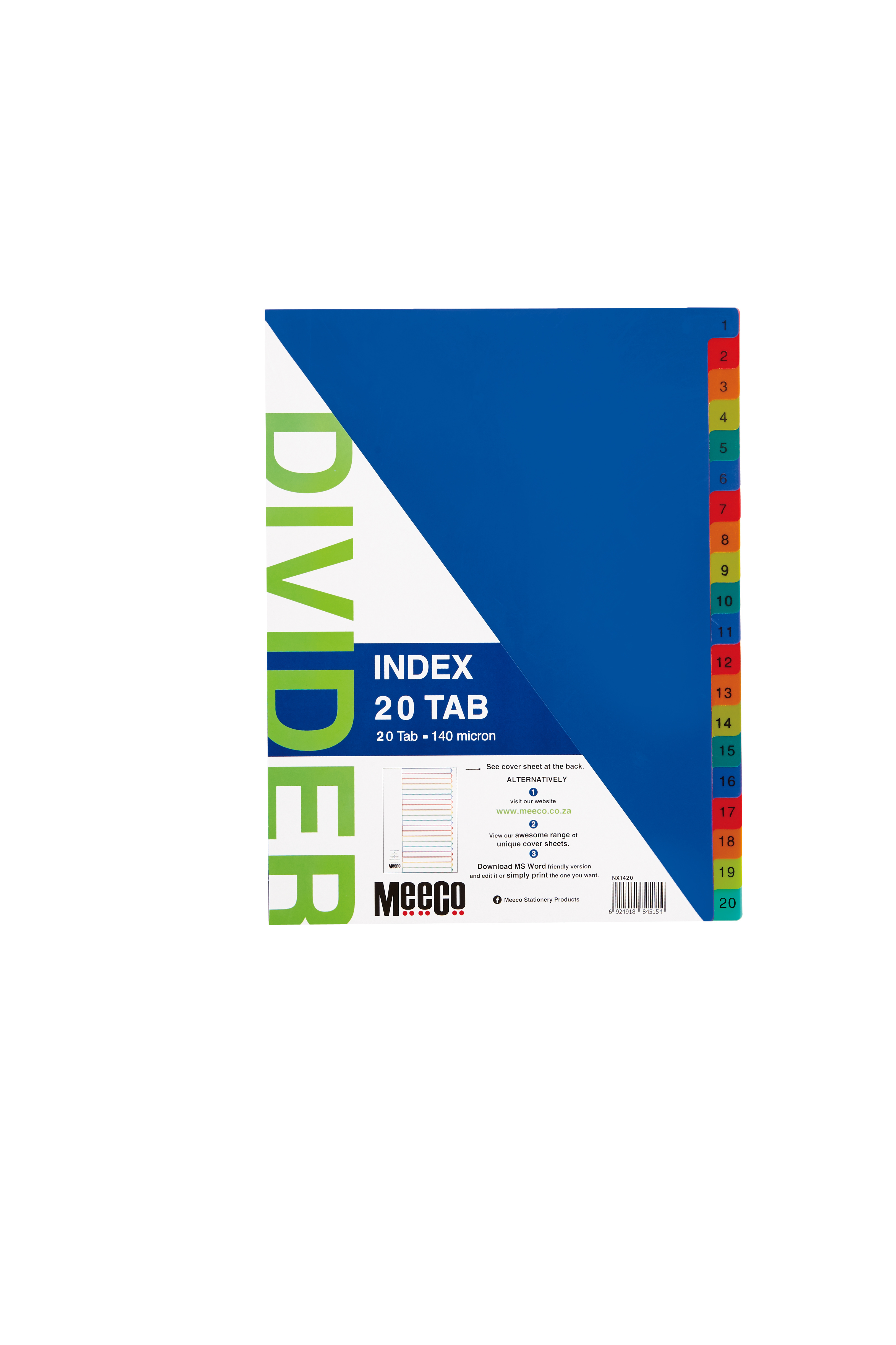 Plastic Index 20 Tab Plain