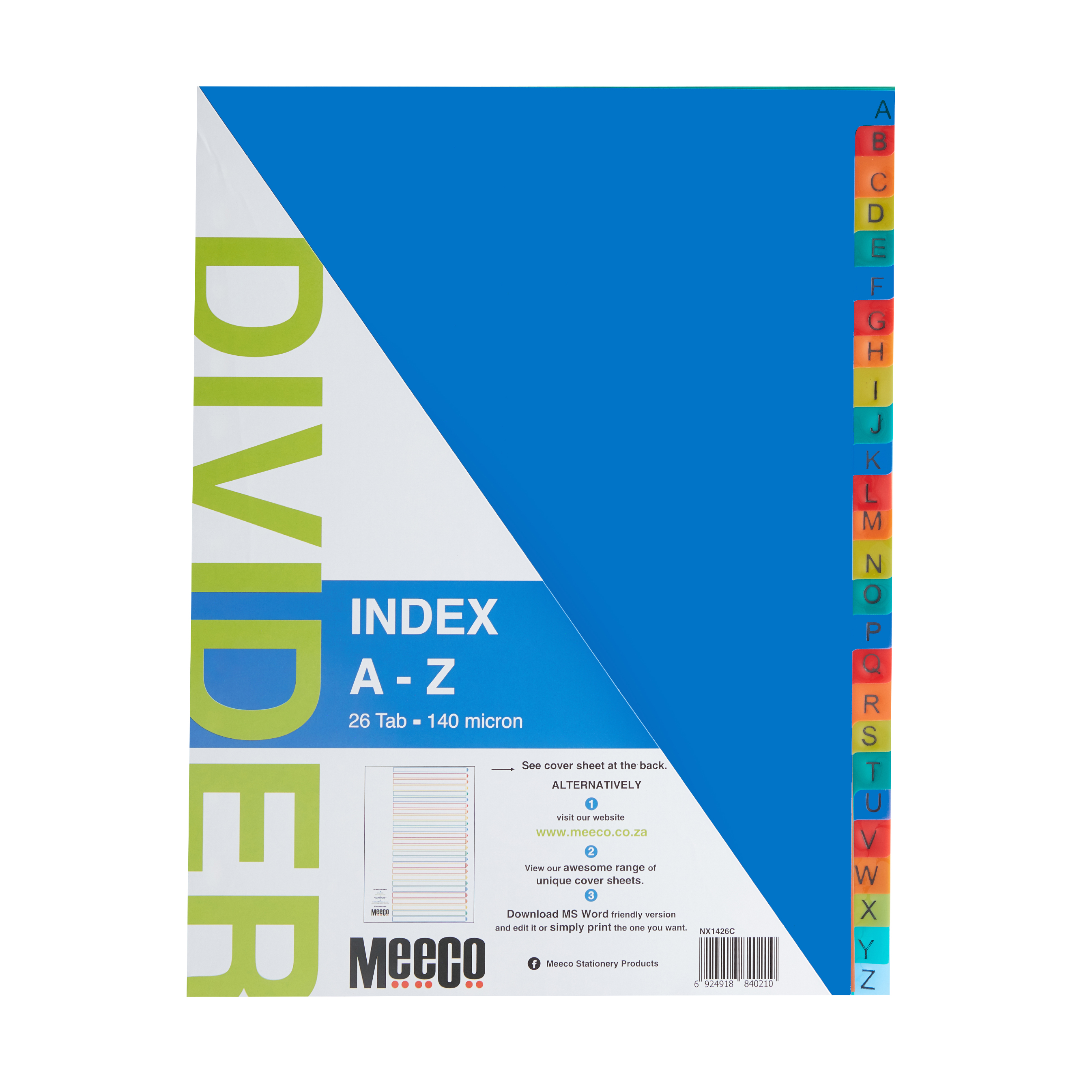 Plastic Index A-Z 26 Tab Printed