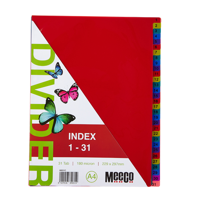Executive Plastic Index 1-31 Tab