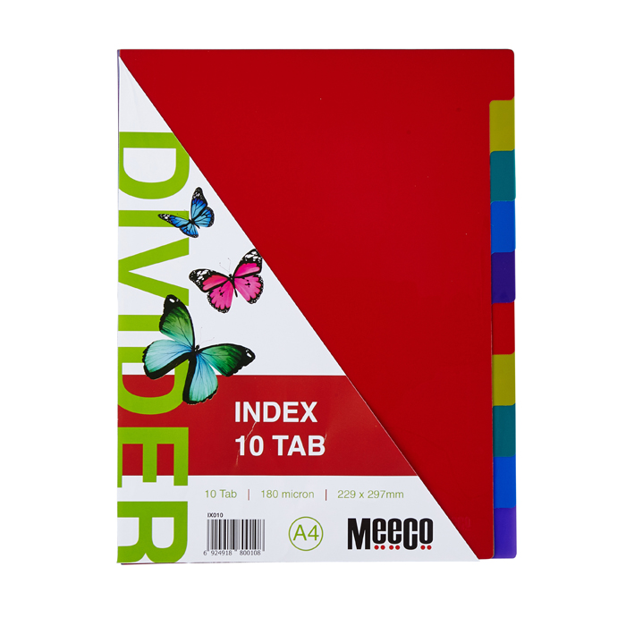 Executive Plastic Index 10 Tab Plain
