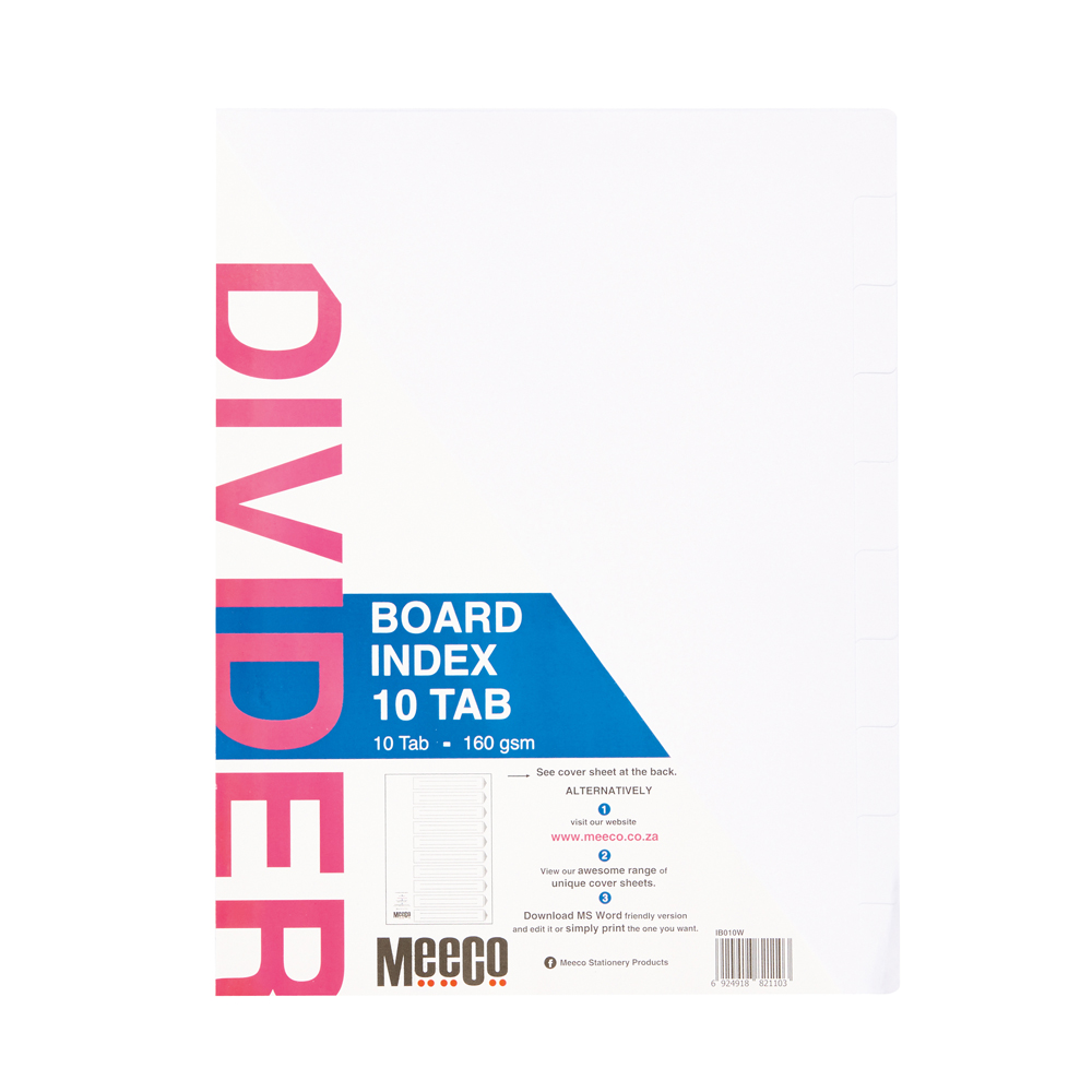 Board Index 10 Tab Plain White