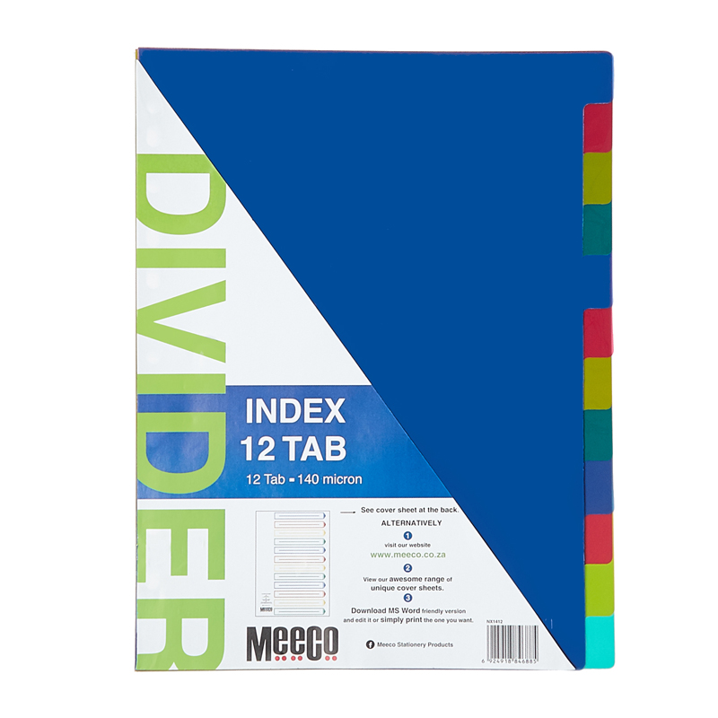 Plastic Index 12 Tab Plain