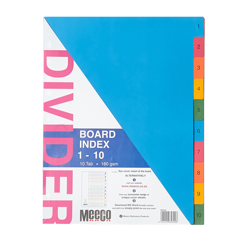 Board Index 1-10 Tab Printed