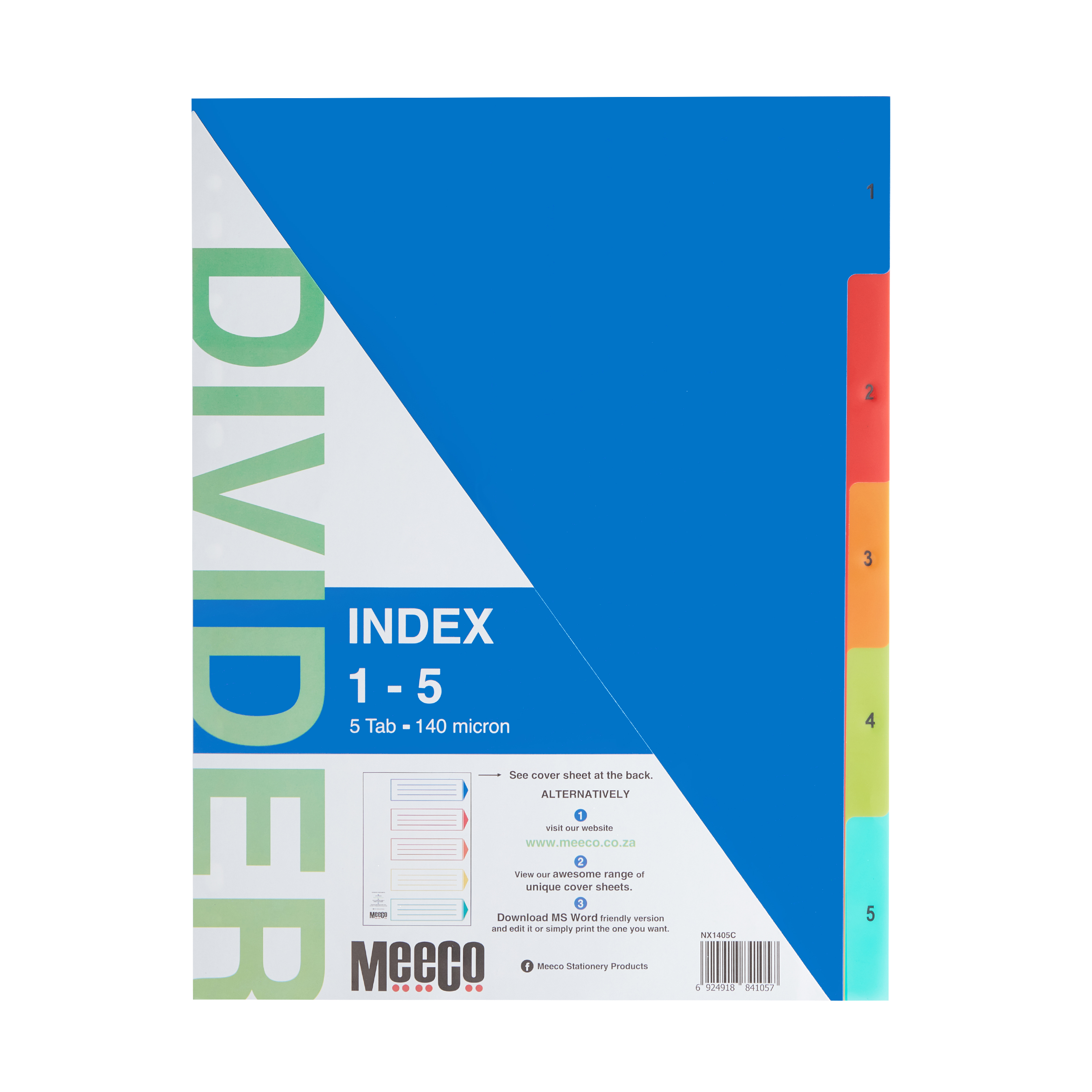 Plastic Index 1- 5 Numbered