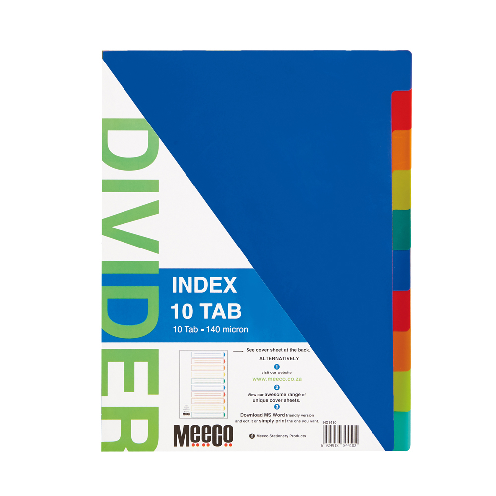 Plastic Index 10 Tab Plain