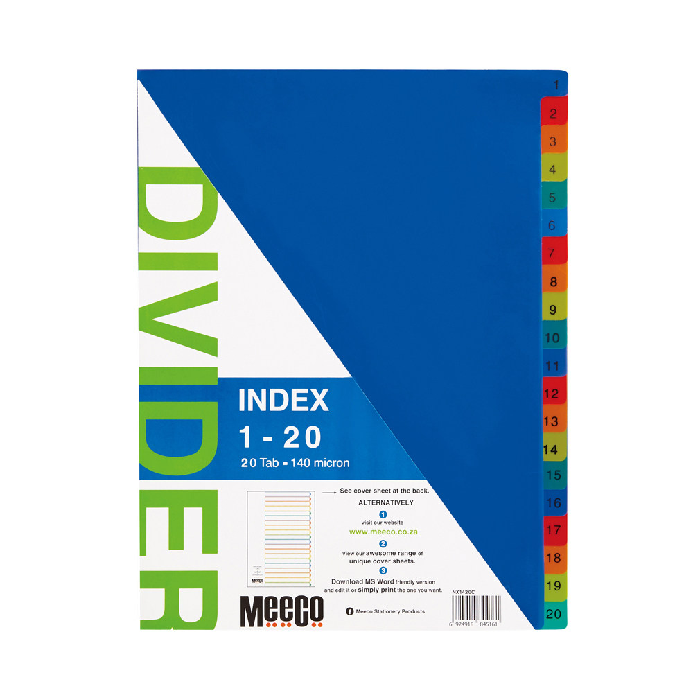 Plastic Index 1-20 Printed