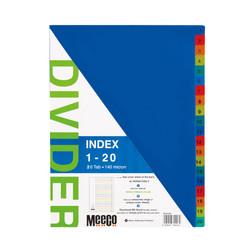 Plastic Index 1-20 Printed