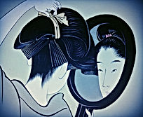 old drawing of a japanese woman unleashing her hair in front of a mirror