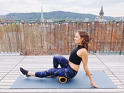 woman with a foam roller after a workout