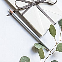 A gift with a bow and a pen next to a tree branch