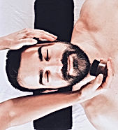 Handsome bearded man having a grooming beard massage