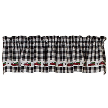 """Red Truck Check Valance (72x14"""")"""