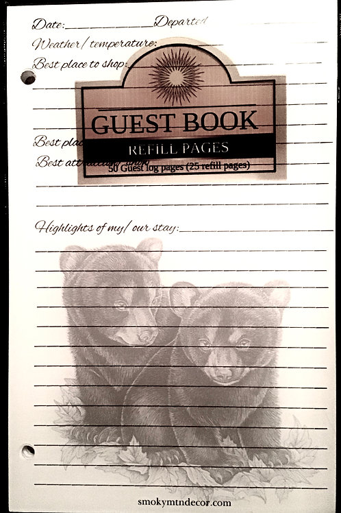 Guest Book Refill Pages Bear/Tree