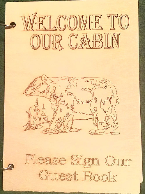 Welcome To Our Cabin Walking Bear Guest Book